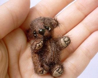 Miniature teddy bear PDF sewing PATTERN,  digital pattern for teddy bear, brown teddy bear, tiny cute bear pattern, how to sew mini bear