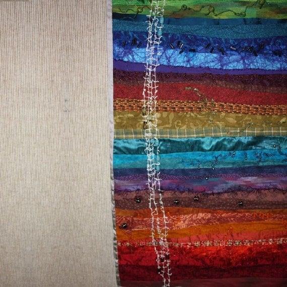 Beaded Fiber Art Wall Hanging - Veiled Sentiment