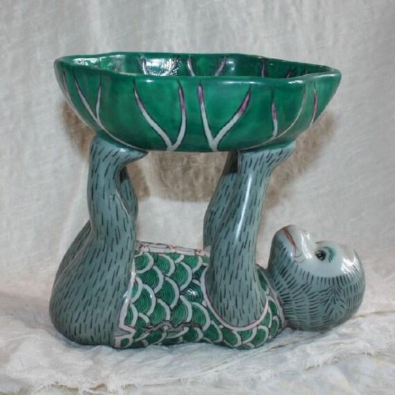 Green Ceramic Monkey Bowl - Candy Dish