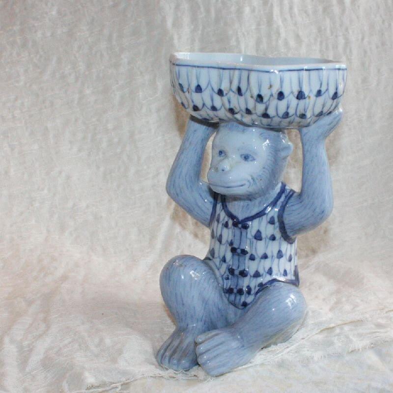 Blue Ceramic Monkey Bowl Candy Dish
