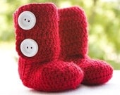 Crochet Baby Ankle Booties in Cranberry Red (Size 6-12m)