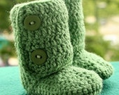 Crochet Baby Booties in Sage Green (Size 6-12m) Custom Made