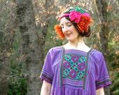 Ethnic Tapestry Dress... Purple Spring Boho Dress... MANDALA (m)