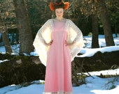 Pink Cotton Hippie Maxidress... Lace Bell Sleeves... FAIRY GODDESS (s/m)