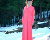 1970s Does 1930s Evening Gown... Coral Pink Maxi Dress... RISING STARLET (m)