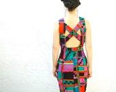 Geometric Neon Dress... 90s Vintage Spring Dress... CRISS CROSS (s)