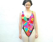 S A L E.......... Neon Bathing Suit... Vintage 80s Swimsuit... Peter Max Neo Max Swimwear.... NEO MAX (11/12)