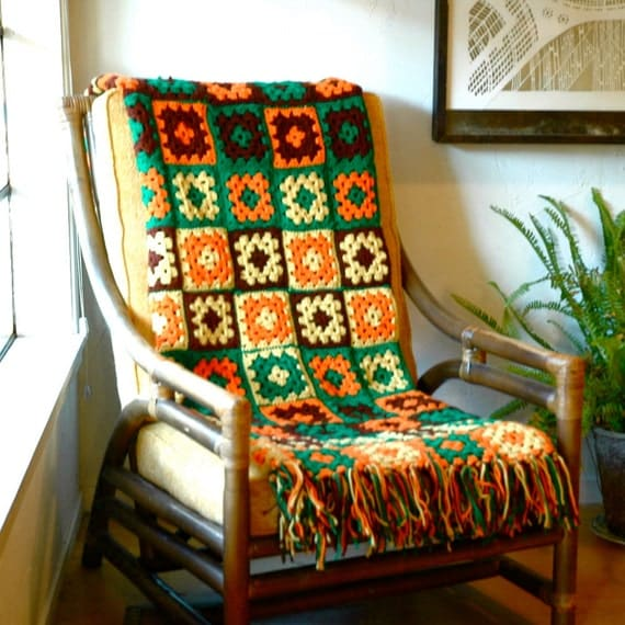 1970s Vintage Afghan... Knit Granny Square Blanket... GREEN ORANGE & YELLOW