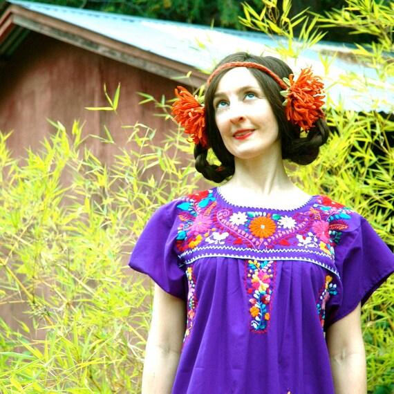Purple Oaxacan Embroidered Cotton Dress... FLOWER GIRL (m)