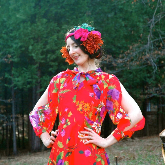 1970s Semi Sheer Red Floral Dress... Slit Sleeves... RUBIES & FLOWERS (s)