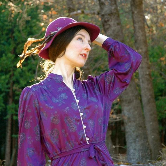 1970s Dark Purple Day Dress... Secretary Dress... MS. SUGAR (m)