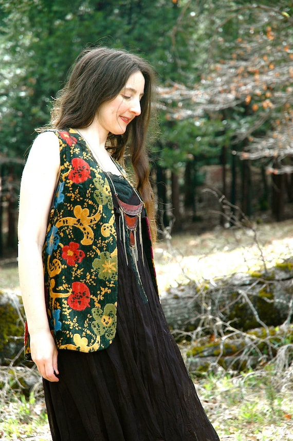 70s Hippie Vest... Floral Tapestry... 1960s 1970s Gypsy... FESTIVAL EXPRESS (one size fits most)