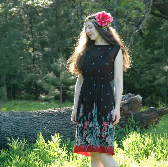 Vintage 1970s Boho Dress... Semi Sheer Pleated Floral... Sleeveless Summer Dress.... JODY T of CALIFORNIA (s/m)