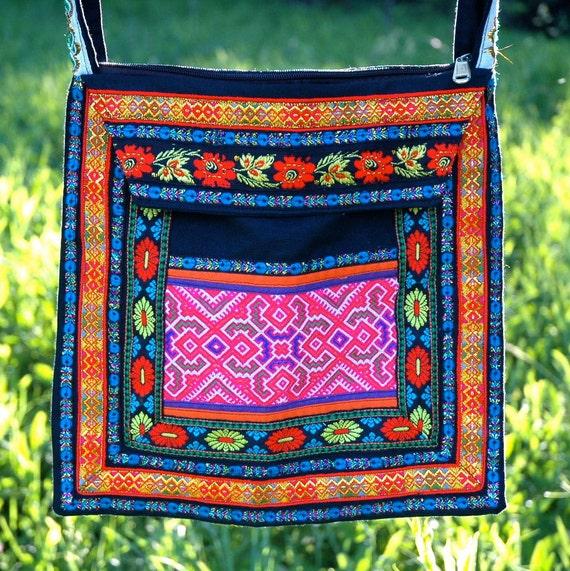 Folk Handbag.... Crossbody Bag... Hippie Bag... SILK ROAD