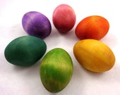 Painted Wooden Easter Egg Rainbow Decoration Toy or Gift  Waldorf Inspired