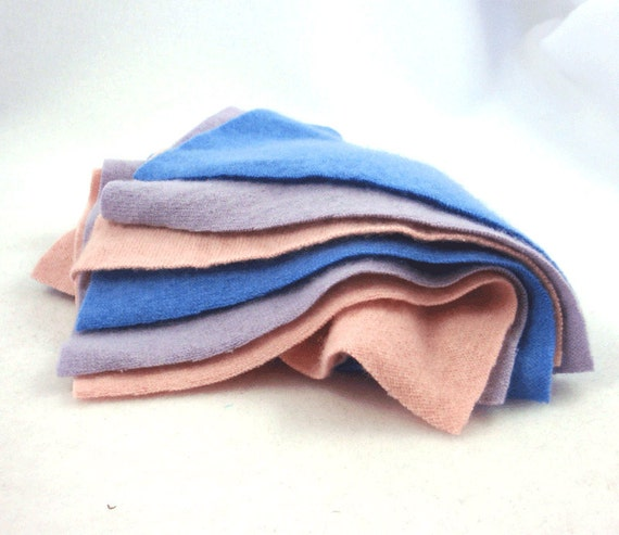 Pastel Cashmere Upcycled Wool Sweater Felt Fabric Squares in Cornflower Blue Baby Pink and Lavender Purple