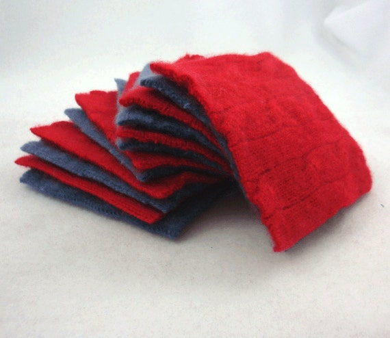 Blue and Red Cabled Cashmere Upcycled Wool Felt Fabric Small Squares