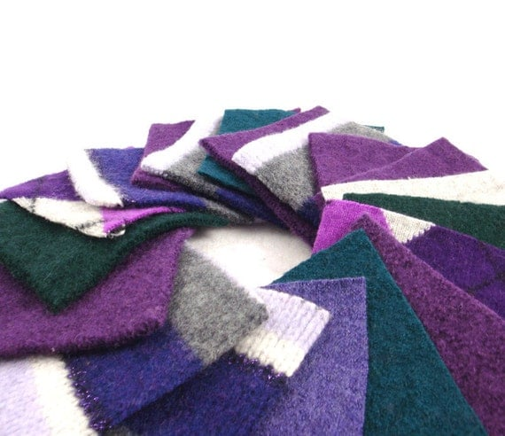 Purple Green and Gray odds n ends Upcycled Wool Felt Fabric Small Squares