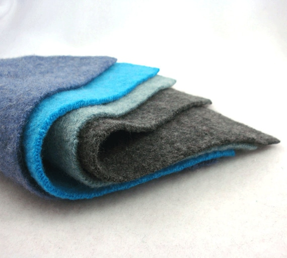 Blue Teal Turquoise Charcoal Gray Seafoam Upcycled Wool Sweater Felt Fabric Rectangles