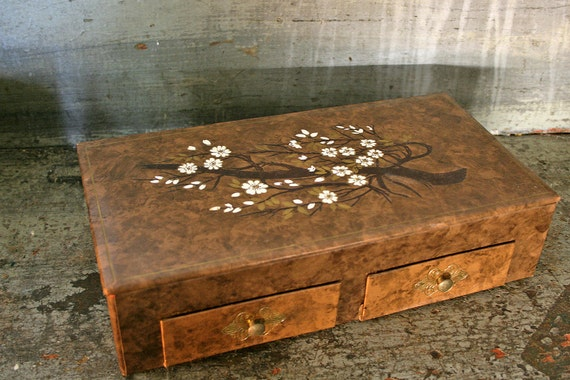 Vintage 50s Chocolate Brown Marbled Cherry Blossom Jewelry Box