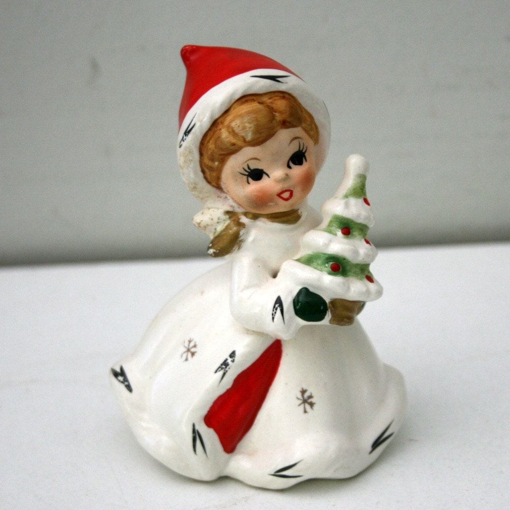Vintage napco figurine christmas santa girl tree