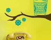 Vinyl Wall Art Decal--Owl on a branch ---Wall Art  Vinyl Decal Sticker