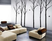vinyl decals stickers---Winter Forest with 6 Complentary Birds---wall art home decor murals
