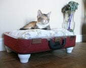 Upcycled Vintage Suitcase Pet Bed - Redish Orange Tweed - Black Handle with White Short Legs - Floral Pillow - Eco Earth Friendly