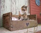 reserved Upcycled Country Pet Bed - Wooden Fruit Crate - Upcycled Shabby Chic - 2 dollars goes to carescatshelter
