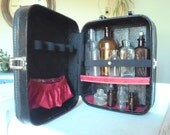Luvable Luggage Retro Modern Black and Hot Pink - Small Suitcase Vanity - Repurposed Luggage