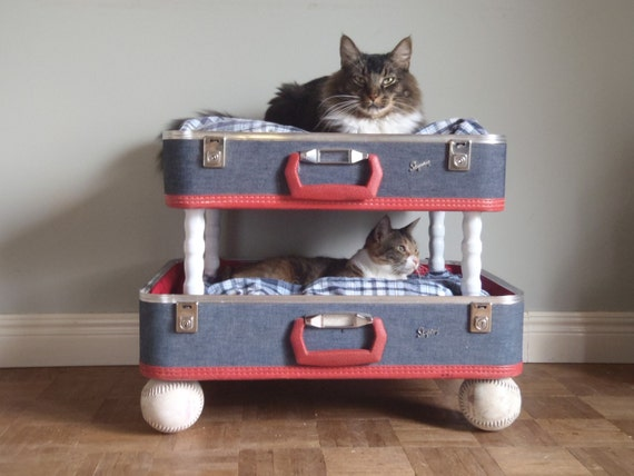 Lovable Luggage Pet Bunk Bed - Upcycled Suitcases, Reclaimed Softballs - 2 dollars goes to TLC CAT RESCUE