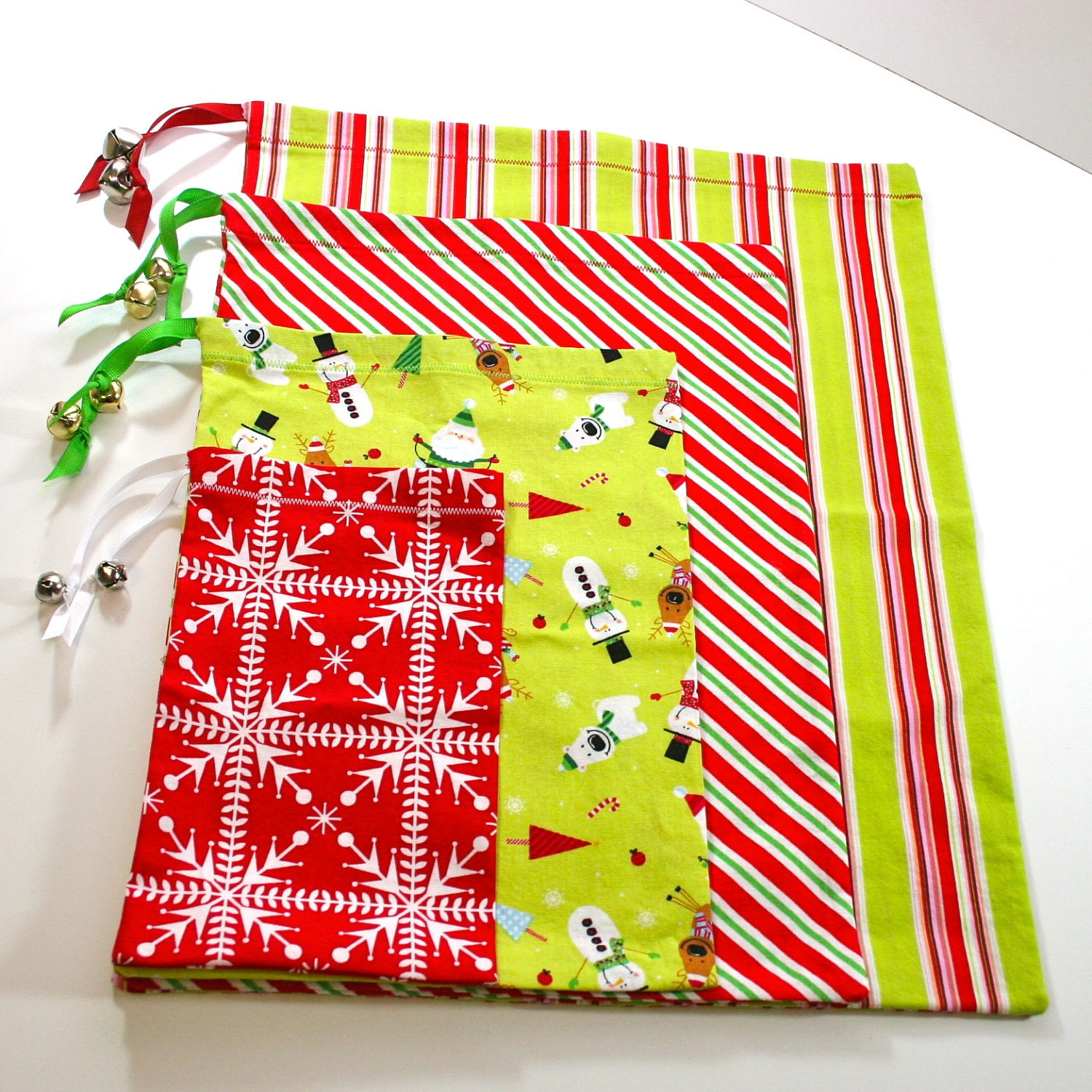 Fabric gift bags set of four in graduated sizes