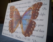 Butterfly Scripture Card - Christian Scripture Notecard - Butterfly of Life - 1 Inspirational Card