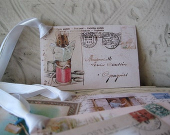 SALE - 50 % OFF - Peter Rabbit Postcard Tags -Digital File - Miss Moppet, the Farmer's Wife and more  - 5 Gift Tags - pdf - Set 5