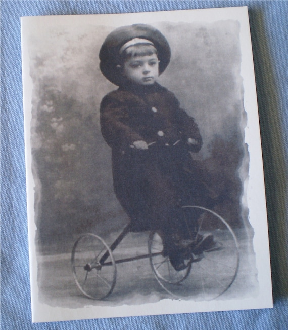 Christian  Encouragement Notecard -  Black and White Vintage Photo Notecard - Keep on Pedalling - 1 card