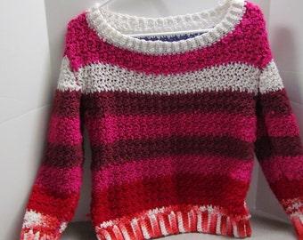 crochet girl's pullover sweater