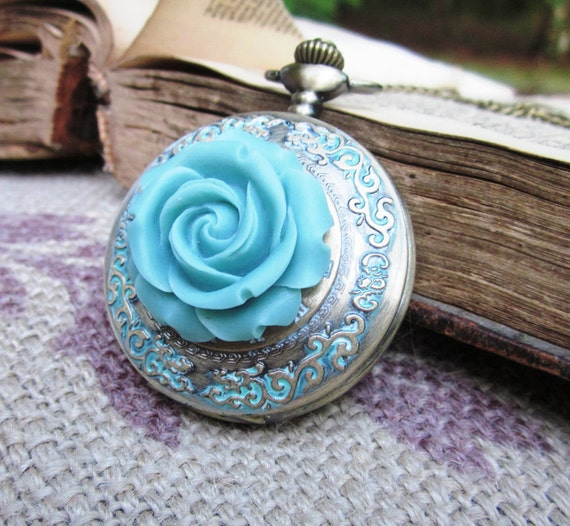 Teal Rose Victorian Style Ladies Pocket Watch Necklace