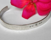 RESERVED for MARY LOU - 2 Personally Yours - 1/4 inch custom and personalized, hand stamped sterling silver cuff