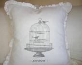 Sweet Birdcage Ruffle pillow