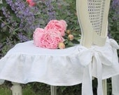 Shabby Chic Slipcover The Isabella Ruffled Linen chair slipcover with ballerina ties White Linen