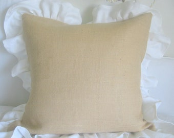 The Greta Burlap and Ruffles Pillow