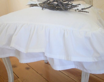 "Shabby Chic Slipcover The ""Cecilia"" layered ruffles slipcover White Cotton"