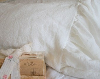 Shabby Chic Pillows The French Prairie Collection Ruffle Pillowcase White Linen