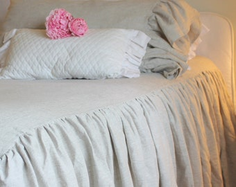 The French Prairie Collection Coverlet in Natural Linen King Size