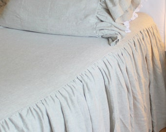 The French Prairie Collection Coverlet In French Blue Linen Queen Size