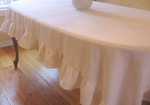 Custom Listing for Shelley:  Ruffled linen tablecloth