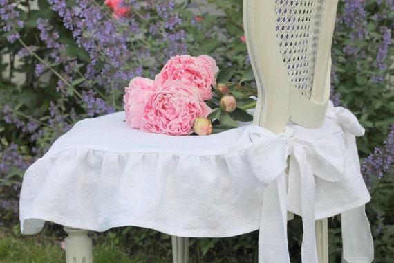 Shabby Chic Slipcover The Isabella Ruffled Linen chair slipcover with ballerina ties White Linen