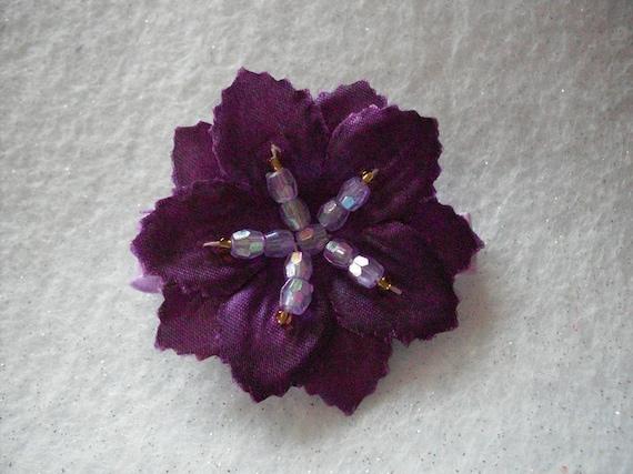 Dark Purple Beaded Flower Clip