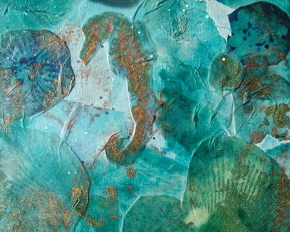 seahorse mixed media collage in blue green