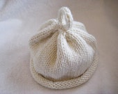 Hand knit baby beanie - hat, in white, off white, keepsake - simply white-simply pure collectio